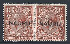 1923 NAURU 1½d RED BROWN FINE USED PAIR SG15
