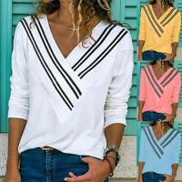 Women's V -Neck Blouse Stripe Print T-Shirt Hatless Long Sleeves Jacket Tops GB