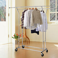 Commercial Grade Collapsible Clothing Rolling Double Garment Rack Hanger