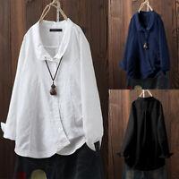 ZANZEA Femme Chemise Manche Longue 100% coton Boutons Loisir Haut Shirt Plus
