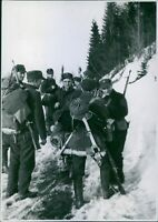 Norwegian troops on the snowy hillsides outside Grong near Namsos. - 8x10 photo