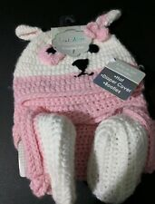 Crochet Diaper cover hat booties 3 piece set photo prop 0-6 months pink