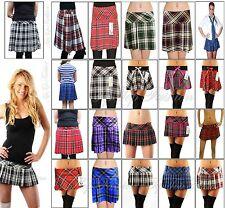 """sexy scozzese MICRO MINI GONNA QUADRI pieghe corta 9 """" 12 """" 14 """" 16 """" 45.7cm"""