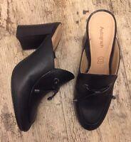 Stylish M&S AUTOGRAPH Slip On Block Heel Mules Black Leather Shoes - UK 3.5~