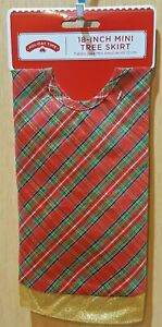 "Holiday Time 18"" Red/Green/Gold Trim Glitter Satin Mini Christmas Tree Skirt"
