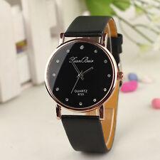 New Women Watches Diamond Case Leatheroid Band Round Dial Quartz Wrist Watch
