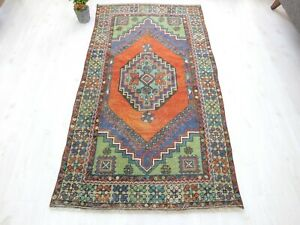 Antique Rug 3x6.2 Turkish Old Carpet Hand Knotted Small Floor Mat Tribal Oushak