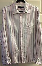 FRENCH CONNECTION Mens White Purple Stripe Long Sleeve Cotton Shirt Size L Smart