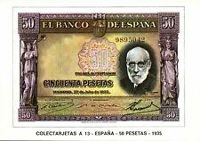 spain, Cincuenta 50 Pesetas 1935, BANKNOTES Modern Money Postcard