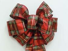 Handmade Red black gold Plaids Christmas Holiday Gift Wrap Wreath Swag Decor Bow