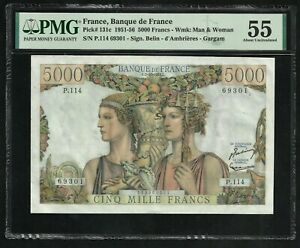France : 5000 Francs Terre & Mer (2-10-1952) ; PMG : About UNC 55