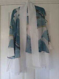 WynneLayers Bouquet Printed Chiffon Cardigan L Blue RRP £59 MarlaWynne