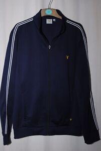 Lyle & Scott Mens Navy Blue & White Zip Up Track Jacket Size XL