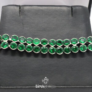 20 Ct Green Emerald Tennis Bracelet Engagement Jewelry 18K White Gold Plated