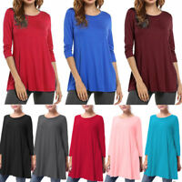 1X 2X 3X Women Casual 3/4 Sleeve Loose Tunic Top Round Neck Shirt Blouse Dress