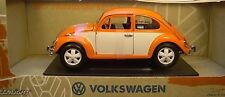 GREENLIGHT 1:18 SCALE DIECAST METAL ORANGE & WHITE 1967 VOLKSWAGEN RETRO BEETLE