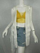 POL Clothing Kimono White Sleeveless Ruffles