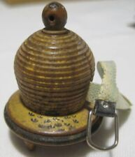 Old Antique Miniature Wooden Footed Painted Beehive Sewing Tape Measure