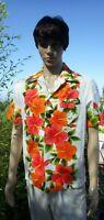 Old Vintage 1960s Ui-Maikai Hawaii Aloha Shirt Orange Hawaiian Hibiscus Plumeria