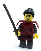 C144 Lego Ninja Samurai Warrior Girl Custom Minifigure w// Armor Sword Stand NEW