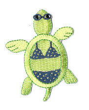 Turtle - Summer -  Light Green W/Bikini - Sunglasses - Embroidered Iron On Patch
