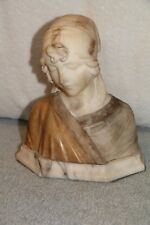 ANTIQUE YOUNG LADY WOMAN ALABASTER BUST, MADE IN ITALY Circa 1920s, SIGNED