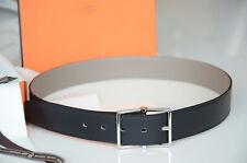 Geniune 38MM Hermes Reversible Belt kit GRAY / BLACK SILVER SADDLE Buckle 100