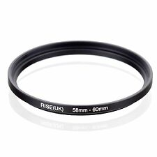 Camera 58mm Lens to 60mm Accessory Step Up Adapter Ring 58mm-60mm Black