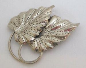 Vintage Sterling Silver Leaf Brooch Danecraft