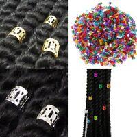 Lots 50pcs 8mm Gold Dreadlock Beads Adjustable Hair-Braid Rings Cuff Clip DLP