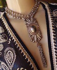 Vintage Necklace Huge Exotic Pendant Wide Bell Fringe Belly Dance Collar
