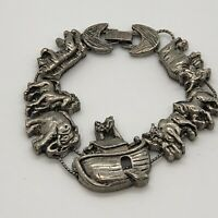 "Vintage TOFA Noah's Ark Animals Silver Tone Slider Bracelet 7 1/4"""