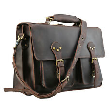 "Men Leather 16""Laptop Business Backpack Briefcase Messenger Shoulder Bag Handbag"