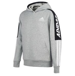 Adidas Boys Youth Fleece Gray 3 Stripes Pullover Hoodie Size XL 18/20