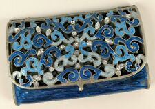 Cloissone Business Card Holder Cigarette Case Filligree Enamel Gems Mint!