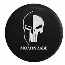 Spare Tire Cover Molon Labe Tactical Skull Helmet Brushed Steel for SUV or RV