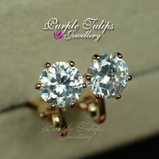 18CT Rose Gold Plated 1.75c Round Cut Clip-on MadeWith Swarovski CrystalEarrings