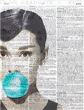 Art N Wordz Audrey Bubble Original Dictionary Sheet Pop Art Print Wall/Desk Art