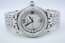 CHOPARD HAPPY SPORT ROUND STAINLESS STEEL DIAMOND ENCRUSTED WATCH 278236-3005