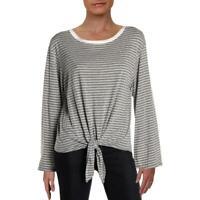 Aqua Womens Striped Knot-Front Long Sleeves Top Shirt BHFO 5822