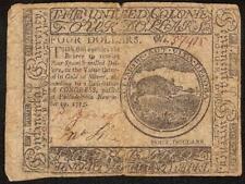 1775 WILD BOAR 4$ FOUR DOLLAR BILL CONTINENTAL CURRENCY NOTE MONEY CC-14