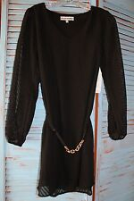 New Almost Famous Black Dress With Open Long Sleeves with Belt Medium