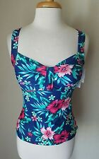 NWT Croft & Barrow Women's D-Cup Navy Hibiscus Floral Tankini Swimsuit Top 8