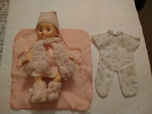 """Effanbee 10"""" Tiny Rubber Baby Doll w/ 2 Outfits and Blanket"""