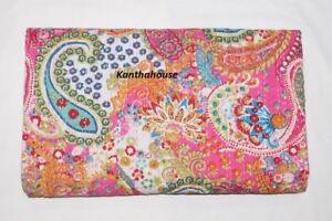 Indian Paisley Print Pink Twin Blanket Kantha Quilt Cotton Ethnic Ralli Gudari