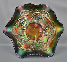"Fenton HEART & VINE Blue Carnival Glass 9"" Ruffled Bowl F057"