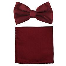 New formal men's pre tied Bow tie & Pocket Square Hankie solid burgundy wedding