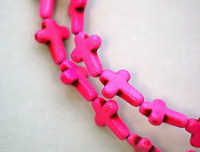 1 strand Howlite Stone Cross Beads in HOT PINK 25x18mm how0170