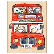 PENNY BLACK RUBBER STAMPS DOUBLE DECKERS LONDON BUS NEW wood STAMP