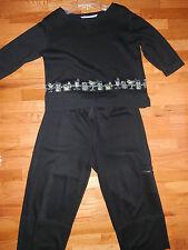 2pc WEEKEND TRAFFIC Women's Black Fine Knit Top Shirt Pantsuit Size Med Large